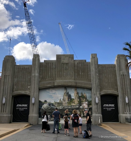 Entrance to Star Wars: Galaxy's Edge (and a busy construction scene behind)