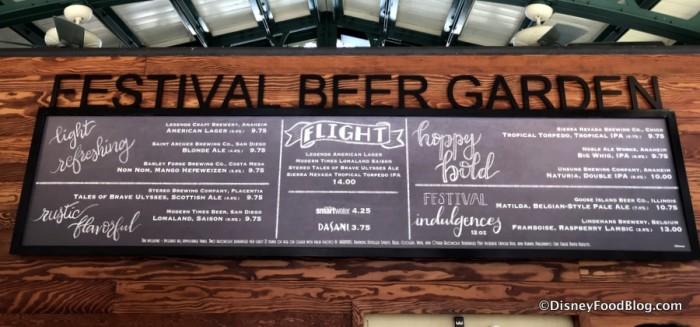 Festival Beer Garden Menu