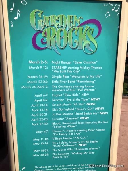 Garden Rocks Concert Schedule sign