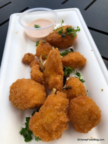 Fried Cauliflower with Capers, Garlic Parsley and Chili Ranch Sauce