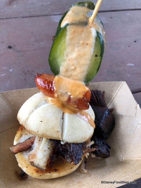 Beef Brisket Burnt Ends and Smoked Pork Belly Slider with Garlic Sausage, Chorizo, Cheddar Fondue and House-made Pickle