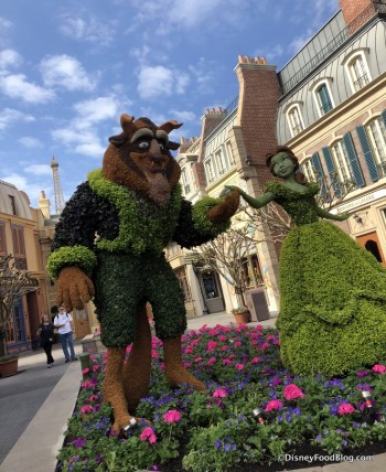 2018 Epcot Flower and Garden Festival france beauty and the beast topiary 2