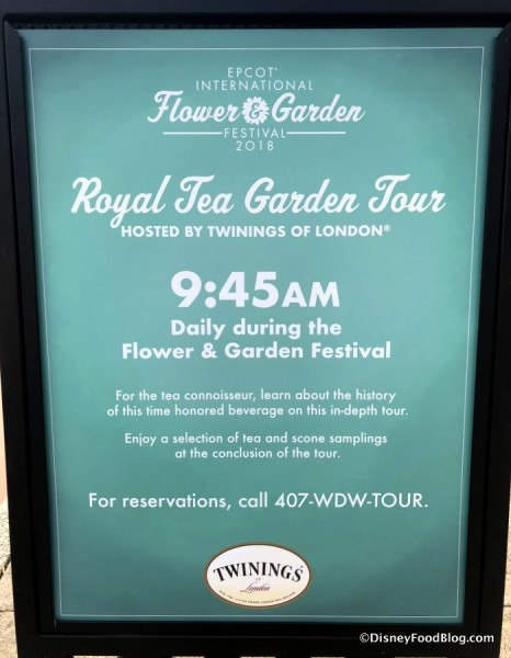 Royal Garden Tea Tour sign