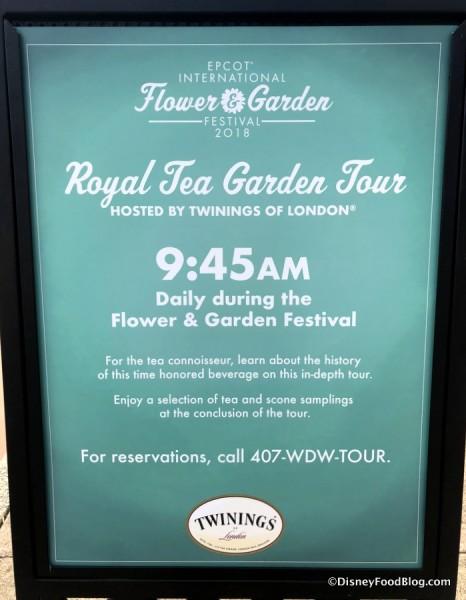 Royal Garden Tea Tour sign