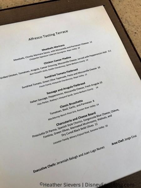 Updated menu at alfresco tasting terrace in disney for Terrace on the park menu