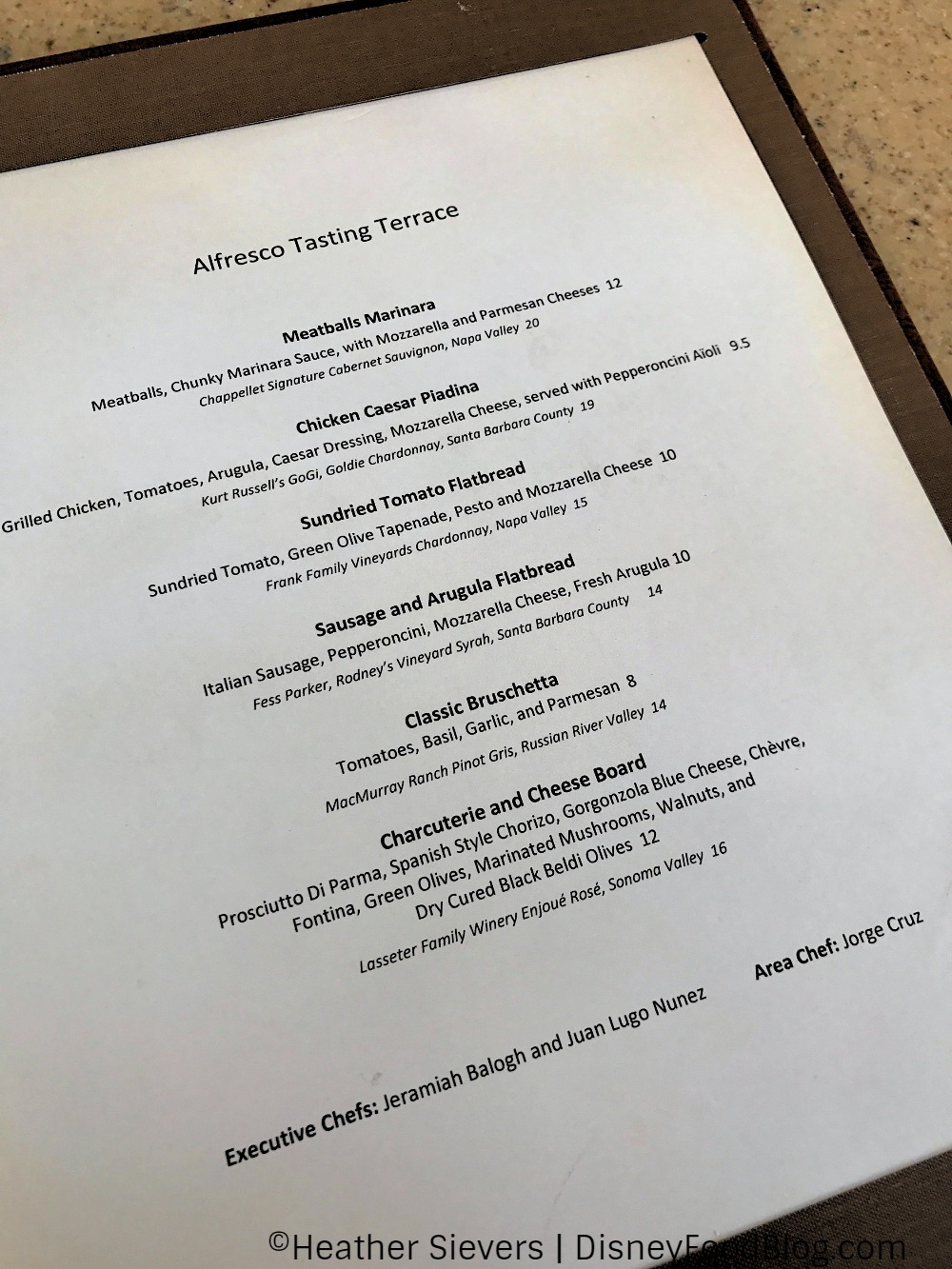 Updated menu at alfresco tasting terrace in disney for Terrace restaurant menu