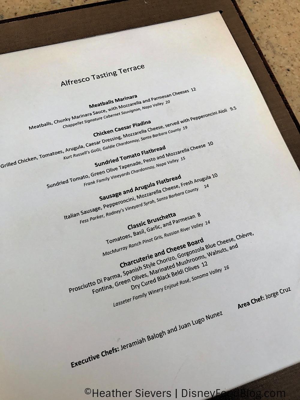 Updated menu at alfresco tasting terrace in disney for Terrace restaurant menu