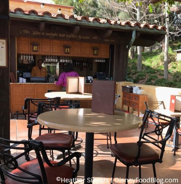 Seating at Alfresco Tasting Terrace