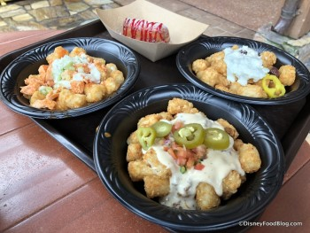 Loaded Tots and Fried Twinkie topped with strawberry sauce