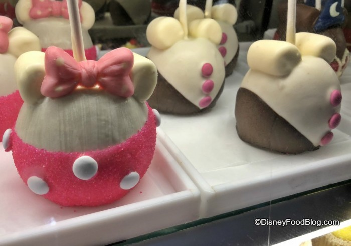 Mickey and Minnie Apples are ready for Valentine's Day at Goofy's Candy Kitchen