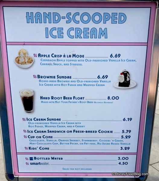 Hollywood Scoops Menu