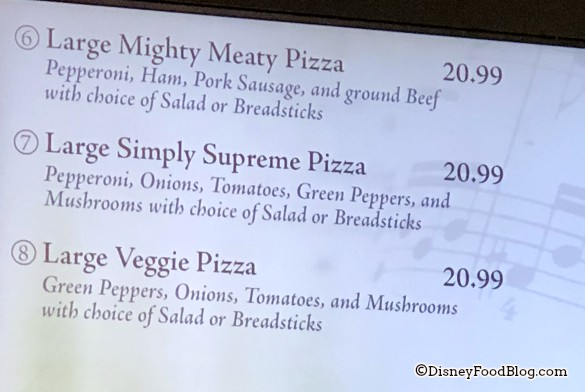 Large Pizza Options at Intermission Food Court