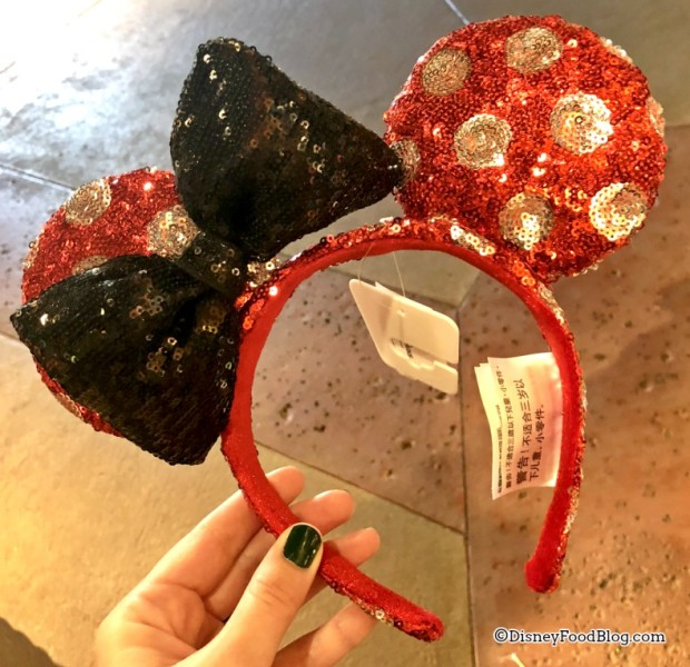 Red and White Minnie Ears with Bow