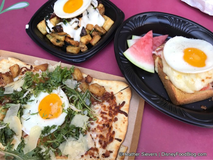 Croque Madame, Breakfast Flatbread, and Garden Vegetable Hash