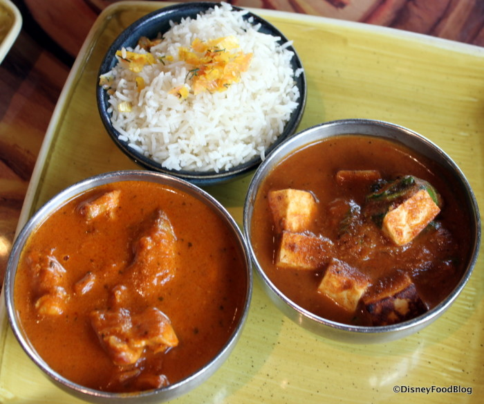Butter Chicken (Left) and Paneer Tikka (Right)