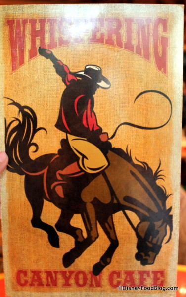 Yeehaw! That's the menu cover!