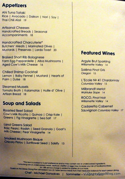 Appetizers, Soups and Salads, and Featured Wines Menu