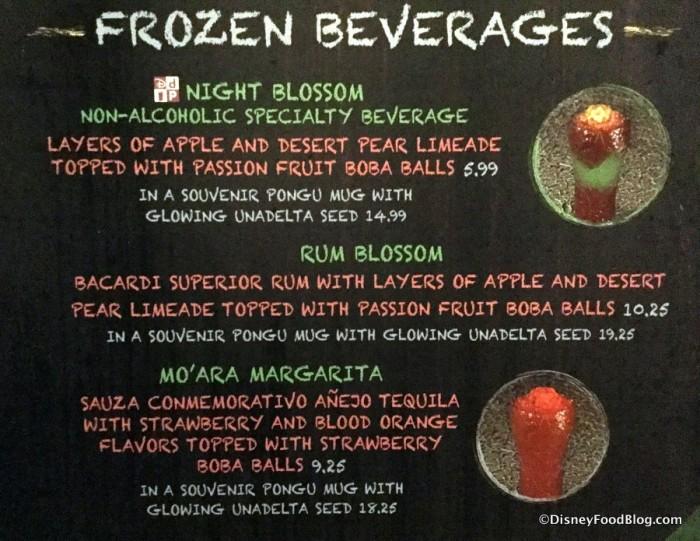 Pongu Pongu Frozen Beverage Menu