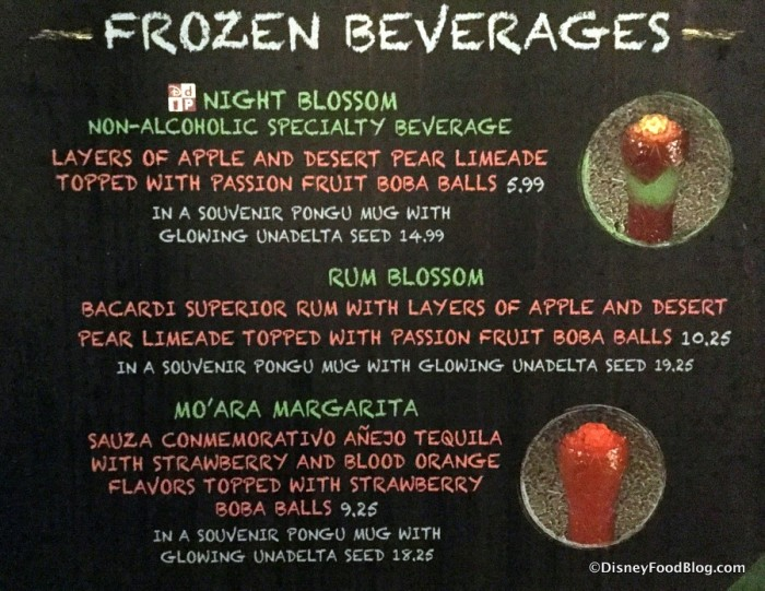 Pongu Pongu Frozen Beverage Menu