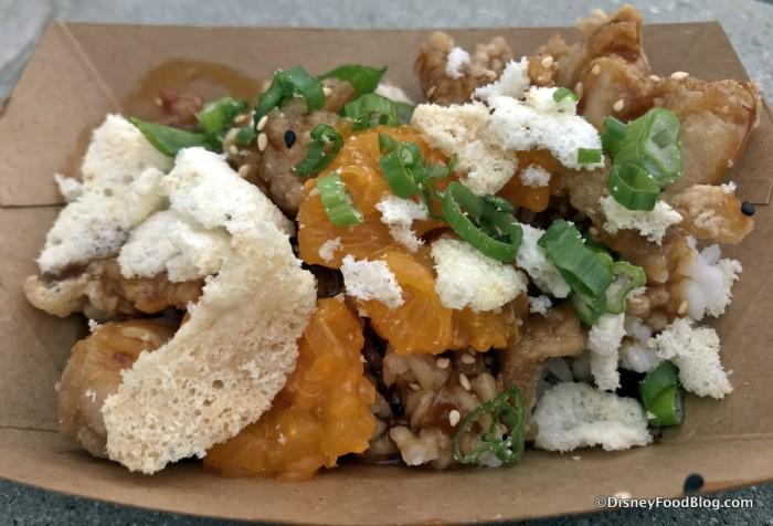 Crispy Orange Chicken & Rice with garlic cracker