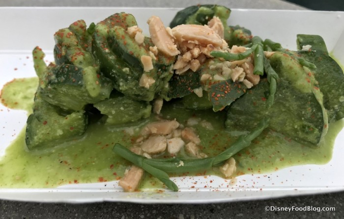 Compressed Asian Cucumbers with Green-Green Sauce, Toasted Almonds, and Sea Beans