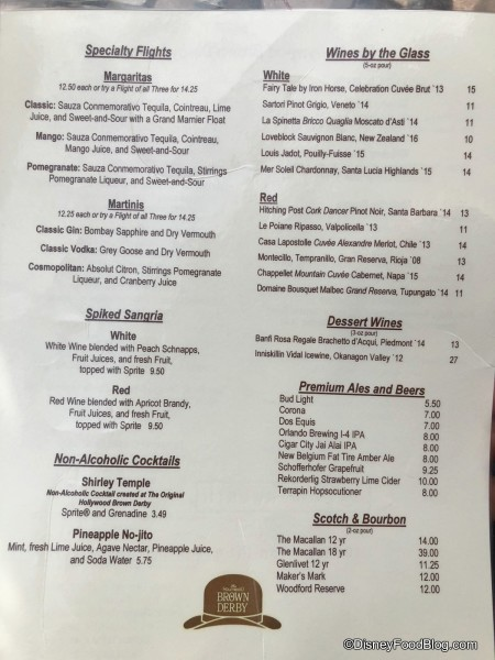 Brown Derby Lounge Menu