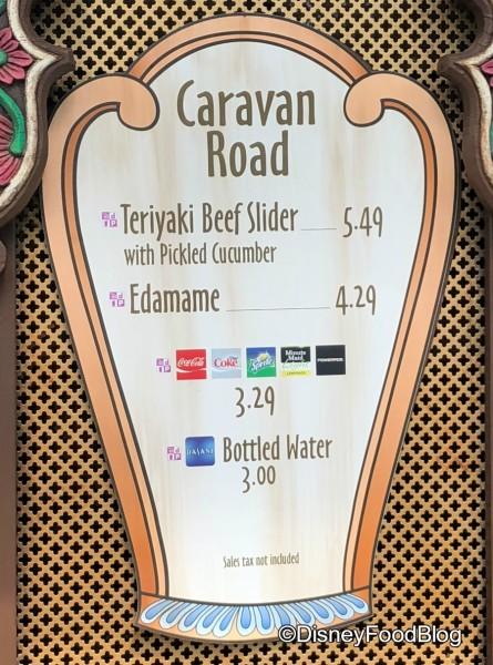 Caravan Road Menu