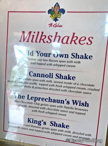 Specialty Milkshakes at Vivoli il Gelato