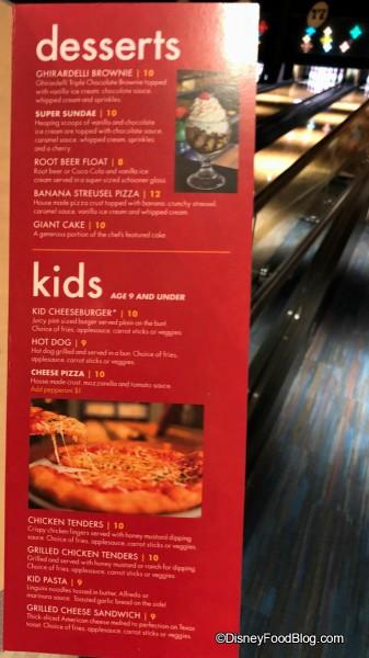 Desserts and Kids' Menu