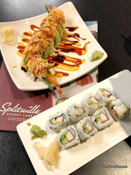 Lots of Sushi options at Splitsville!
