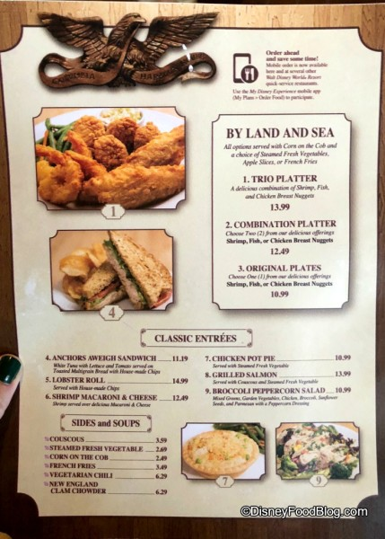 Columbia Harbour House Menu Changes