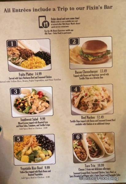 Pecos Bill's Tall Tale Cafe Menu Changes