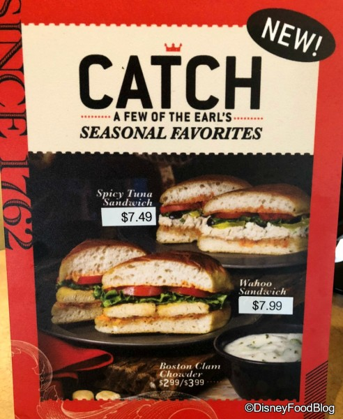 Earl of Sandwich Seasonal Eats