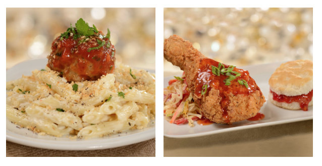 Three Cheese Pasta with Meatball and Sweet and Spicy Drumstick ©Disney