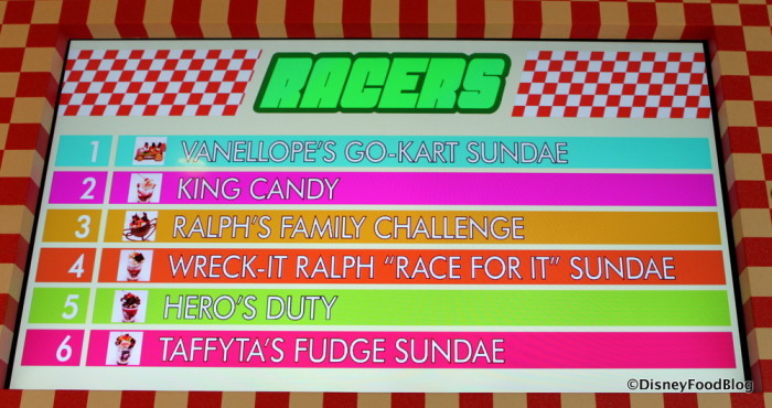 The race is on! Sign displaying the best selling sundaes at Vanellope's!