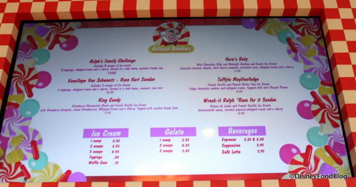 Sundaes, Ice Cream, and Gelato at Vanellope's!