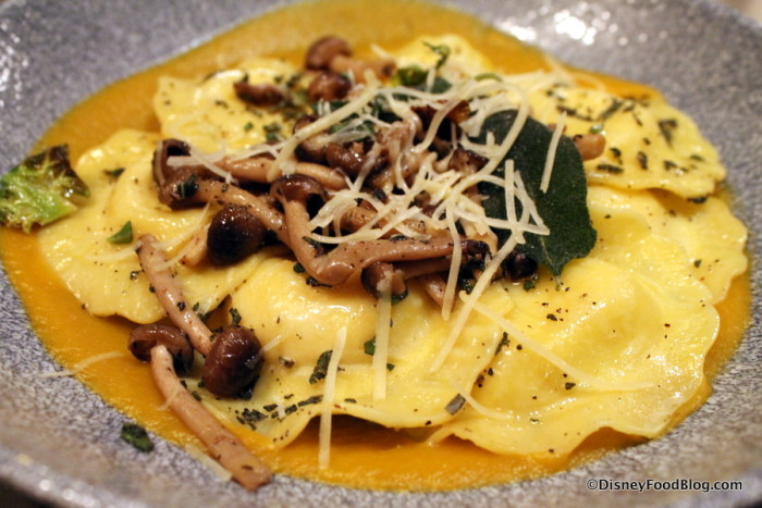 Mushrooms topping the Four-Cheese Ravioli
