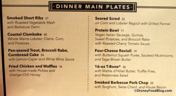 Dinner Main Plates