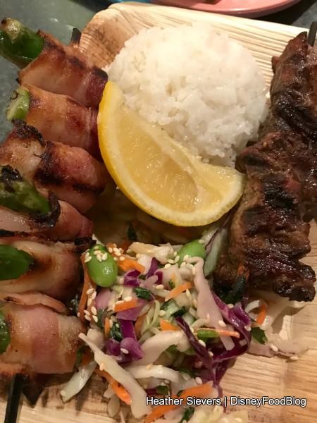 Rice Plate with Safari Skewer and Pork Belly Skewer