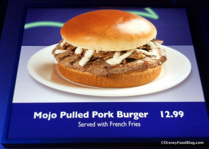 Mojo Pulled Pork Burger on the menu