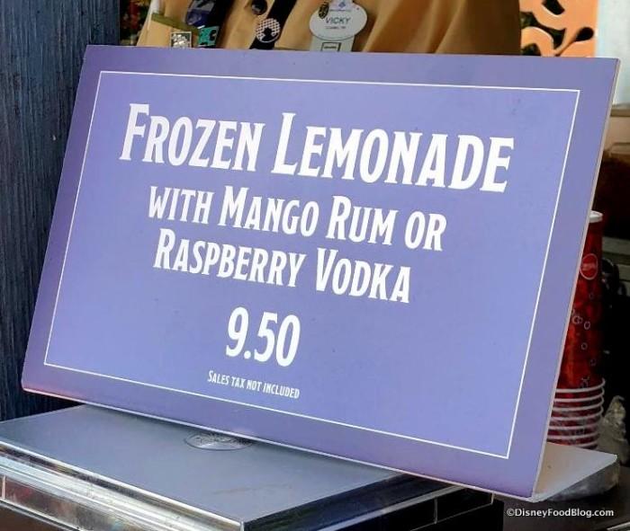 Frozen Lemonade with Options sign