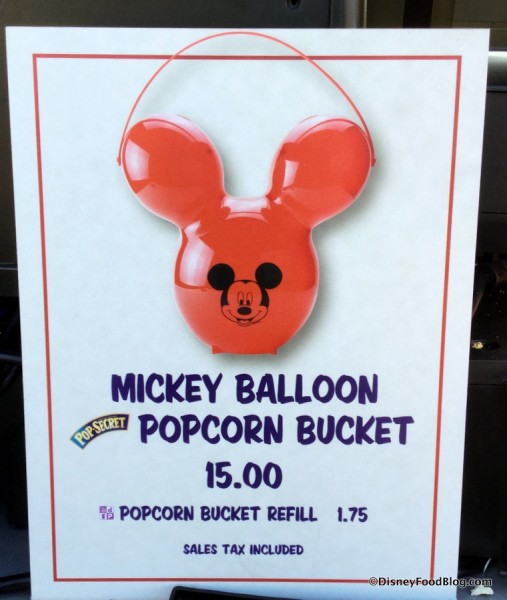 Mickey Balloon Popcorn Bucket sign