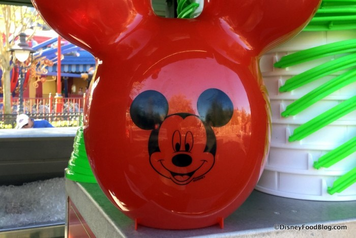 Closeup of Mickey on the Popcorn Bucket