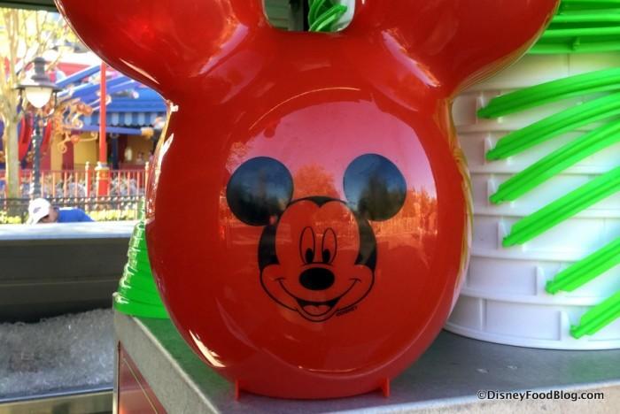 Closeup of Mickey on the Popcorn Bucket