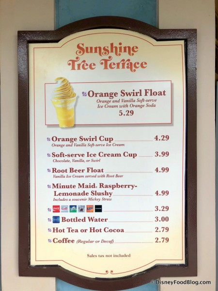 New Orange Swirl on Menu at Sunshine Tree Terrace in Magic Kingdom
