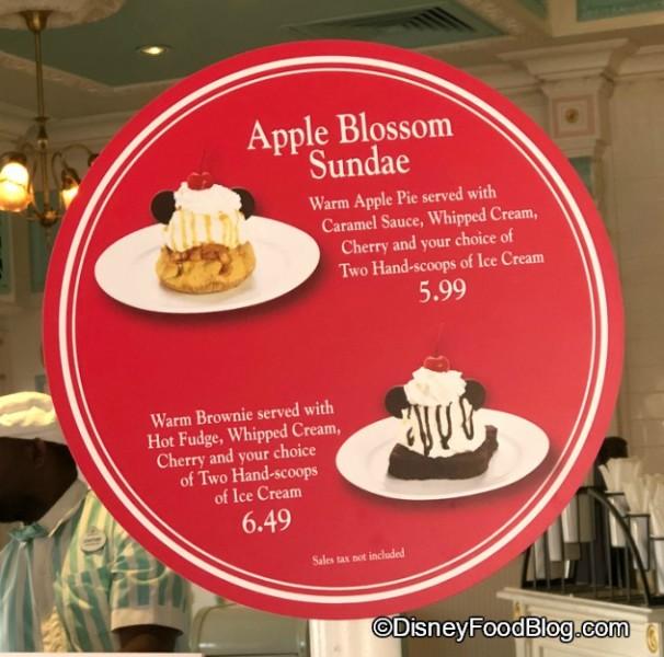 Apple Blossom Sundae and Brownie Sundae