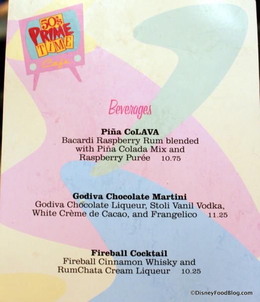 Beverages at 50s Prime Time Cafe