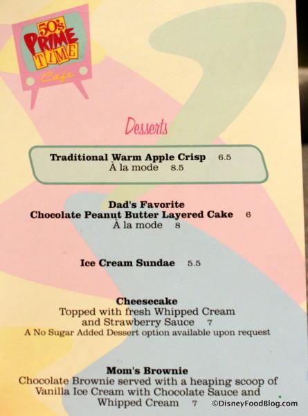 Desserts at 50s Prime Time Cafe