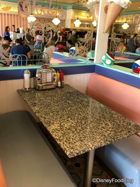 Booth seating at Beaches and Cream