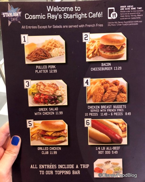 Cosmic Ray's Starlight Cafe Menu